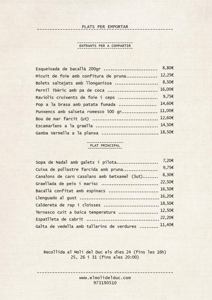 Plats per emportar restaurant moli del duc